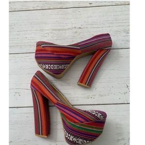 Boho colorful heels